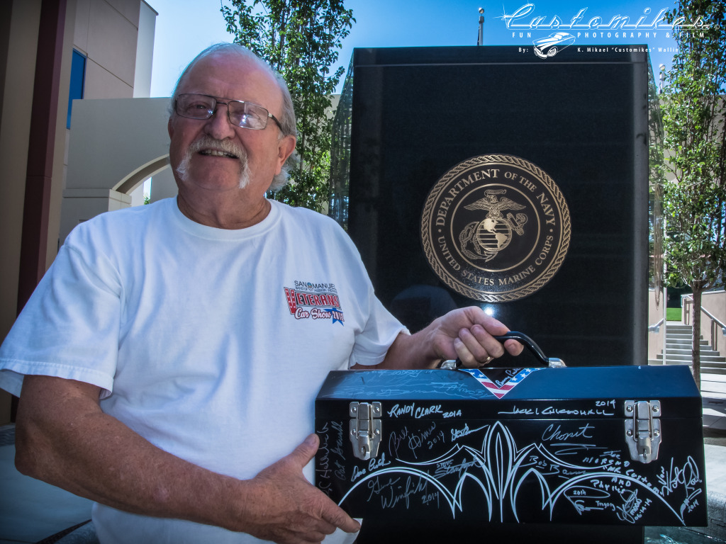Jim St Pierre. The humble man behind the idea of this Legendary Kustom Kulture Signature Toolbox for Veterans Aug 2014 shot by K. Mikael Wallin for Customikes all rights reserved