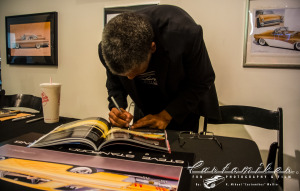 Here Steve Stanford is caught by Customikes/ K. Mikael Wallin signing the Rodders Journal at The Petersen Automotive Museum exhibit celebrating his lives work as a kustom kulture legend. And yes it will be auctioned off with the Signature Toolbox for Veterans. If you bid high enough on Oct 5 2014 you can own it!!!  =D