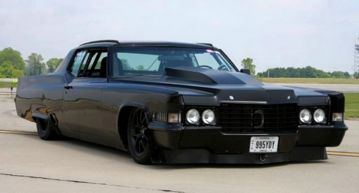 Robin R Rainbow shared this one on FB and comments: SUPER MEAN 1970 CADILLAC COUPE DEVILLE TURBO Turbo 500 Cadillac Coupe Deville at the Ohio Mile. The all black 1970 Caddy have extremely aggressive look, custom air spoilers, light weight aluminium seats, Mickey Thompson street tires and a giant turbo that allows it to run with 160mph. Totally sick street machine.