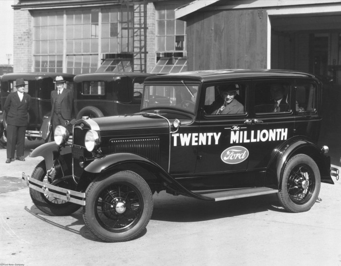 Henry Ford drives the 20 millionth car built, a 1931 Model A, off the assembly line. Photo courtesy Ford Motor Company. - See more at: http://blog.hemmings.com/index.php/2013/12/02/this-day-in-history-1927-ford-reveals-its-model-a-to-an-eager-public/#sthash.TFuh4ZbG.dpuf