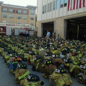 9:11 FireRescue1 May 11 · This photo still gives us the chills. A set of turnout gear for each firefighter lost on 9:11.