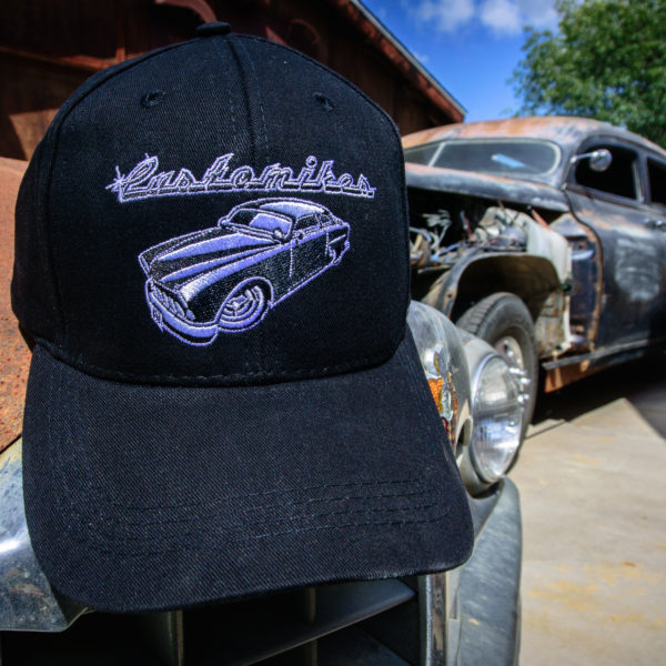 Customikes, hats, beanies, for sale, swag, baseball hat, 48, packard, hearse, chopped,