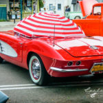 Chevrolet, Corvette, red and white, umbrella, show, main street Seal Beach,