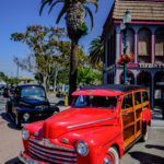 Woodie, station wagon, palm trees, Ford, f-1, f-100, truck, black paint, show, main street Seal Beach,