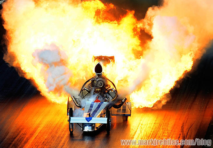 Nostalgia, top fuel, dragster, driver, Mike McLennan, explodes, engine, Mark J. Rebilas, US PREWIRE, Drag Racing, March Meet, Qualifying,