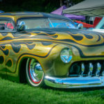 Fountain Valley Classic Car & Truck Show, Pete Haak, Mercury, flamed, panel painted, artistic, desoto grille, whitewalls, red rims, kustomized, custom, kutlure