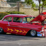 57,flamed, 1955, chevrolet, stance, big n little, two toned,Church, car show, july, 4th, 2016, breakfast