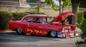 55 chevy, 1955 chevrolet, gm, flames, stance, pro street, Church 4th 2016 Shot by K. Mikael Wallin for Customikes all rights reserved