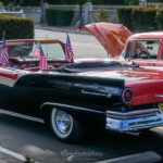 57, ford, convertible, sunliner, two tonedChurch, car show, july, 4th, 2016, breakfast, flags