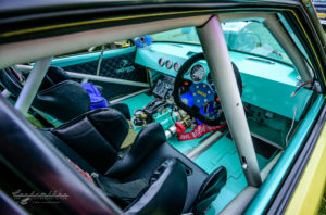 1980's, Matra Simca Bagheera, pro street, dragster, blown, scooped, billet wheels, slicks, chute, interior view, seats, cage, safety cage, controls, dash, gauges, shifter,