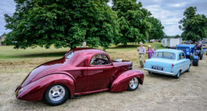 willys, consul, ford, pro street, fat tires, winner row, car show, old warden, parl, trees