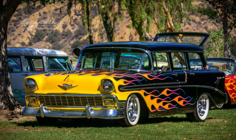 1956, Chevy, left 3/4 front view, flames, whitewalls, chrome, outriders Picnic,