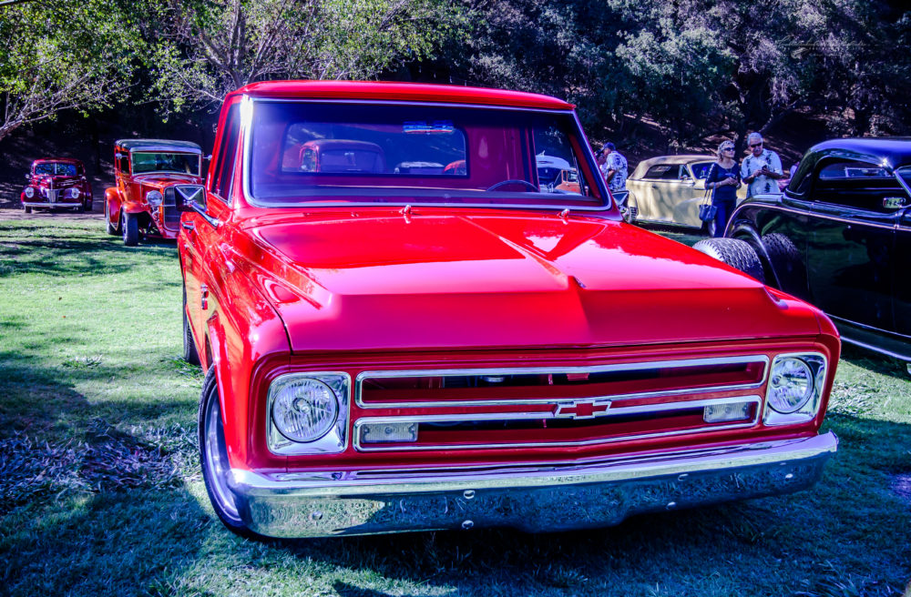 67-72, 1967-1972, chevy, chevrolet, truck, c/10, c-10, c10, pick up, pickup, hauler, bright red, park, lawn, street rods, trees, chrome, grille, k. mikael wallin, customikes, outriders picnic,