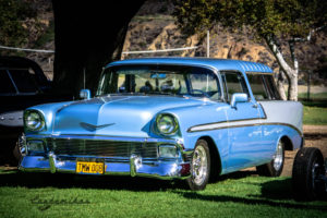 Platinum blue, pearl white, 1956, Chevrolet, Wagon, Oak Canyon Park, sun, Oak park canyon, OC, silverado canyon, tree,