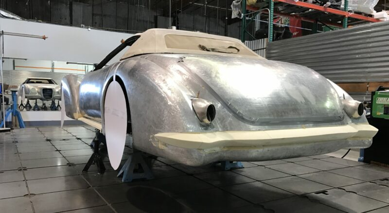 Concept car, Coach built aluminum body, design studio, surface plate N2A
