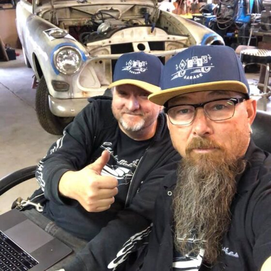 Scott Strickland and Customikes K. Mikael Wallin with Volvo wagon